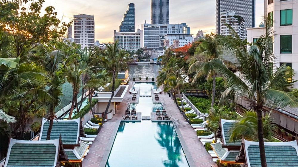 Poolbereich, The Peninsula Bangkok, Thailand Reise